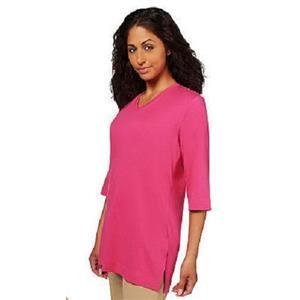 Denim & Co Size 2X Deep Rose Oversized Tunic Cotton T-shirt