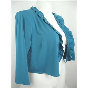 Susan Graver Essentials Size 1X Ocean Teal Liquid Knit 3/4 Sleeve Shrug