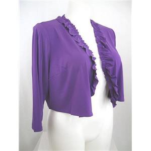 Susan Graver Essentials Size 1X Grape Liquid Knit 3/4 Sleeve Shrug