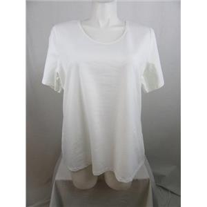 Denim & Co. Essentials Size 3X White Scoopneck T-Shirt w/ Trim