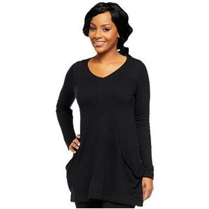 LOGO by Lori Goldstein Size 2X Black Cotton Cashmere Sweater with Draped Pockets