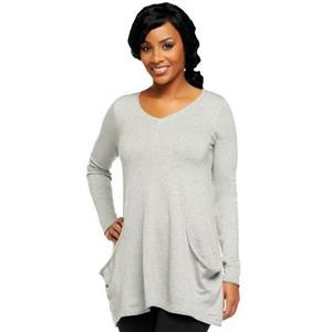LOGO by Lori Goldstein 3X Heather Grey Cotton Cashmere Sweater w/Draped Pockets