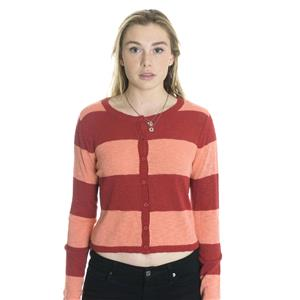 M NWT Pieces by Kensie Button Front Striped Cardigan Sweater in Cherry Combo