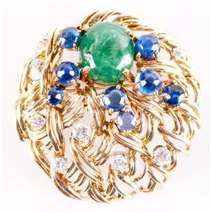 18k Yellow Gold Cabochon Cut Emerald & Sapphire & Diamond Pin / Brooch 15.04ctw