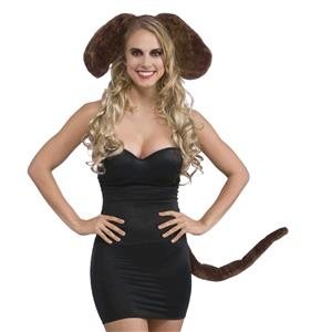 Brown Dog Ears and Tail Set Costume Kit