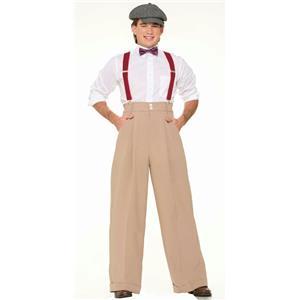 Roaring 20's Mens Costume Wide Leg Pleated Cream Trousers Pants Standard Size