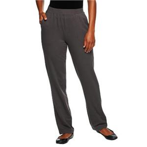 """Denim & Co Active 3X Regular 31"""" Inseam Charcoal Grey French Terry pull-on Pants"""