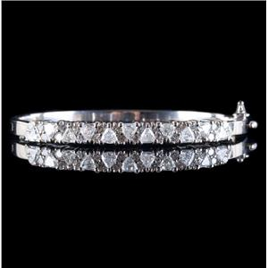 14k White Gold Trillion & Round Cut Diamond Hinged Bangle Bracelet 3.90ctw