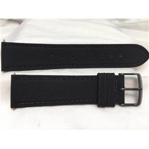 Wenger Watch Band 22mm Black Fabric/Leather. Military Style Back Plate # 0341.11