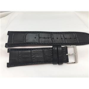 Seiko Original WatchBand SSC285. LOCX B 13. 24mm, 13mm Center Cut Black Leather