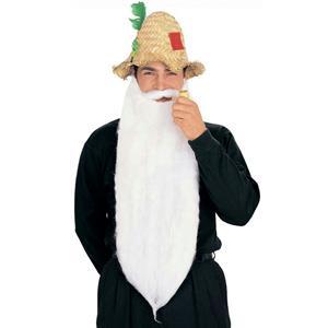 Extra Long White Mohair Beard & Moustache Set