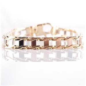 "Men's 14k Yellow & White Gold Two-Tone Heavy Link Style Bracelet 9"" Length 38.8g"