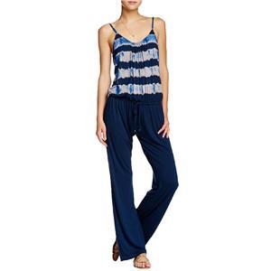 M NWT Gypsy 05 Navy Blue Tie Dye Top Spaghetti Strap Tie Waist Jumpsuit USA Made