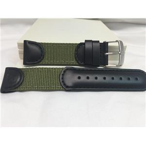 Wenger Watch Band 21mm Black/Green Fabric/Leather.Military Style Mod 01.1141.113