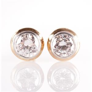 14k Yellow & White Gold Diamond Solitaire Bezel Set Stud Earrings .76ctw