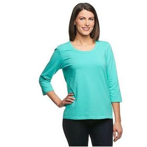 Denim & Co. Essentials Size 2X Turquoise Perfect Jersey 3/4 Sl Round Neck Top