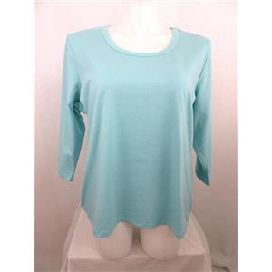 Denim & Co. Essentials Size XL Lt Aqua Perfect Jersey 3/4 Sleeve Round Neck Top