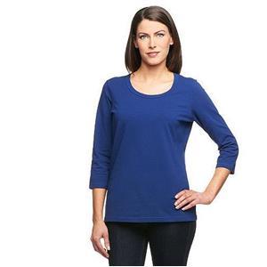 Denim & Co. Essentials Size 2X Bright Navy Perfect Jersey 3/4 Sl Round Neck Top
