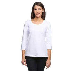 Denim & Co. Essentials Size 1X White Perfect Jersey 3/4 Sl Round Neck Top