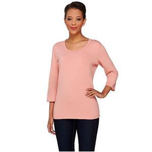 Denim & Co. Essentials Size 3X Blush Pink Perfect Jersey 3/4 Sl Round Neck Top