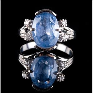 Vintage 1930s 14k White Gold Oval Cut Sapphire & Diamond Engagement Ring 4.64ctw