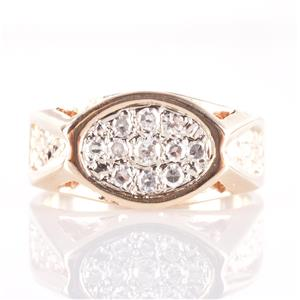 Men's 14k Yellow Gold Round Cut Diamond Cluster Ring .50ctw