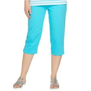 Quacker Factory Size 1X Turquoise pull-on style 60% cotton/40% poly Capri Pants