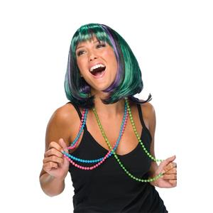 Mardi Gras Wig Green Purple Black Short Bob With Bangs