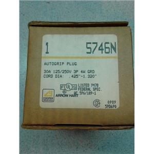 Cooper Industries 5746N Autogrip Plug 30A 125/250V 3P 4W Grd