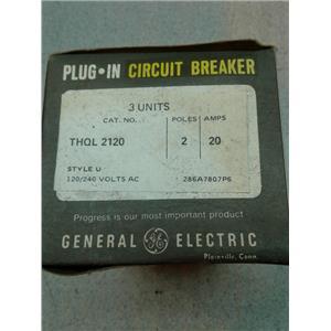 Ge THQL2120 Circuit Breaker, 2-Pole 20-Amp Thick Series