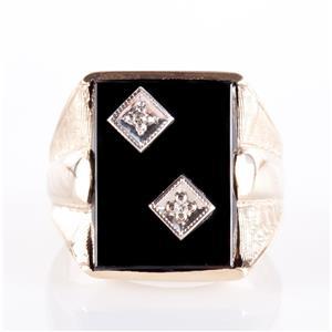 Men's Vintage 1950's 10k Yellow Gold Single Round Cut Diamond & Onyx Ring .02ctw
