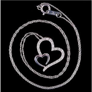 "10k White Gold Round Cut Diamond Heart Pendant W/ 18"" Chain .35ctw"