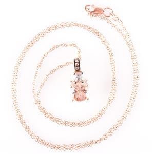 Le Vian 14k Rose Gold Morganite / Aquamarine / Diamond Necklace .745ctw