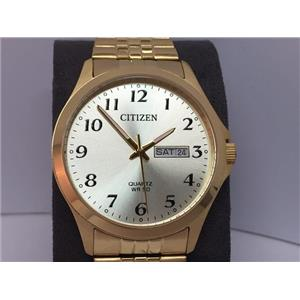 Citizen Mans EZ Reader Gold Tone Watch. Day&Date. Stretch Band. 50M Water Resist