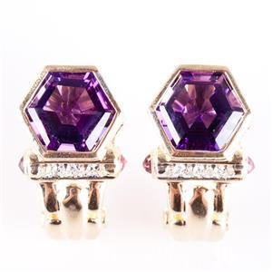 14k Yellow Gold Hexagon Cut Amethyst / Diamond / Ruby Huggie Earrings 5.48ctw