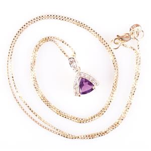 "14k Yellow Gold Trillion Cut Amethyst & Diamond Pendant W/ 18"" Chain .80ctw"