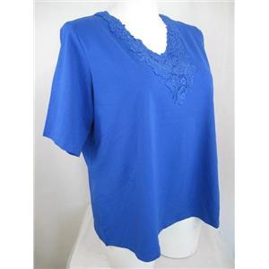 Susan Graver Size 1X Royal Blue Stretch Cotton Knit Top w/ Crochet Trim