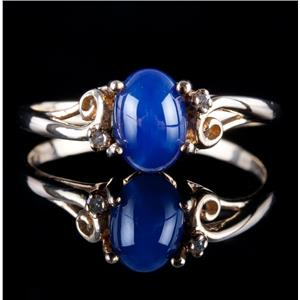 10k Yellow Gold Oval Cabochon Cut Star Sapphire & Diamond Solitaire Ring 1.36ctw