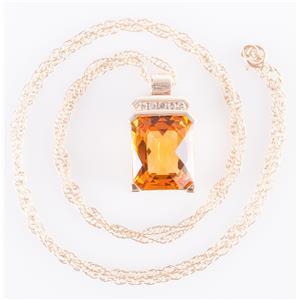 10k Yellow Gold Cushion Checkerboard Cut Citrine & Diamond Necklace 5.025ctw