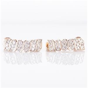 10k Yellow Gold Round Cut Diamond Screwback Clip On Huggie Earrings .72ctw
