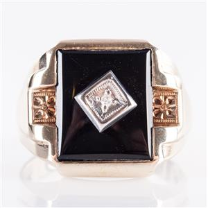 Men's Vintage 1940's 10k Yellow Gold Single Round Cut Diamond & Onyx Ring .02ct