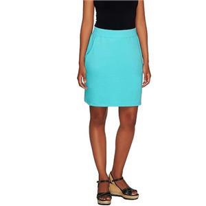 Denim & Co. Essentials Size 2X Clear Aqua Pull-On Knit Skort with Pockets