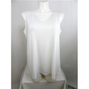 Susan Graver Size 3X White Liquid Knit V-Neck Tank