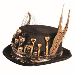 Voodoo Black Hat Top Hat with Skull, Bone and Feather Detail