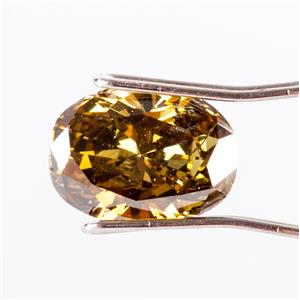 Natural Oval Cut Fancy Dark Brown Greenish Yellow Chameleon GIA Diamond 2.74ct