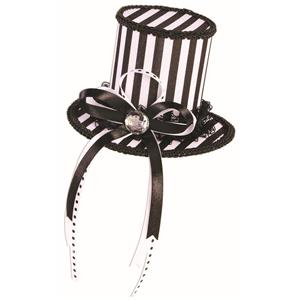Mini Black and White Top Hat Mystery Circus Pirate Accessory