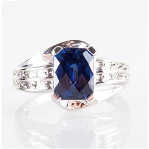10k White Gold Rectangle Cut Lab Sapphire Solitaire Ring W/ Diamonds 2.81ctw