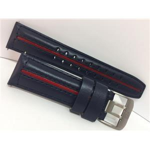 Luminox F22 Watch Band. 24mm Blue Padded Genuine Leather with Red Center Stripe