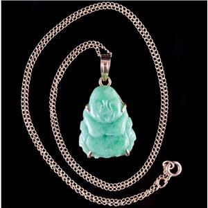 "14k Yellow Gold Carved Jade Solitaire Buddha Pendant W/ 16"" Chain 2.4g"