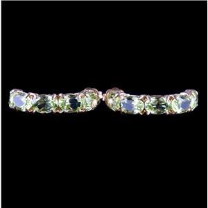 14k Yellow Gold Oval Cut Peridot Half Hoop Post Earrings 5.50ctw